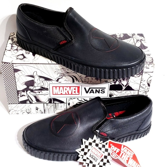 7d7783ea43c7d9 Vans x Marvel Black Widow Logo Slip On Shoes